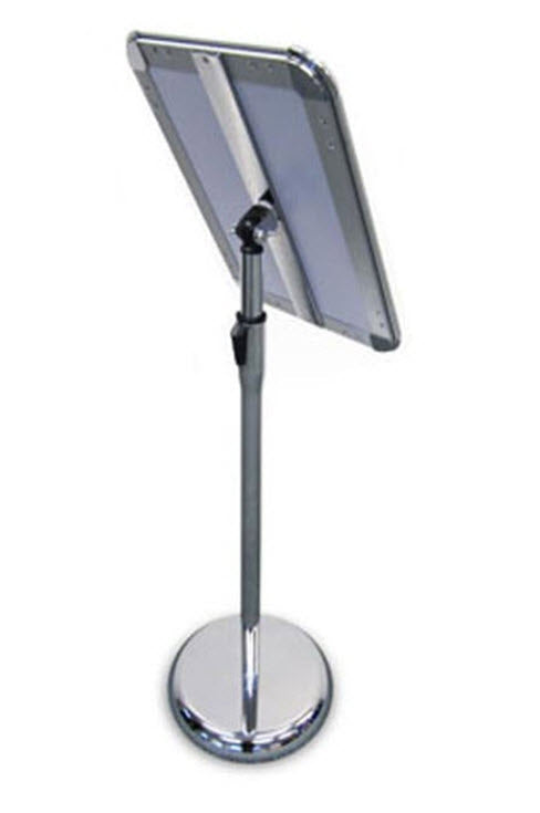 Floorstanding Radius Silver A4 Adjustable Snap Frame Display Stand