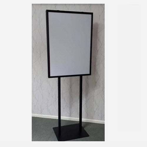 A1 Sign Holder Double Sided Snap Frame Black on Castor Base