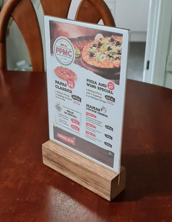 A5 Menu / Table Talker Wood Base