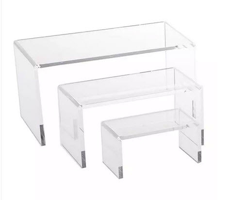 Acrylic Display Risers Rectangular set of 3 SML