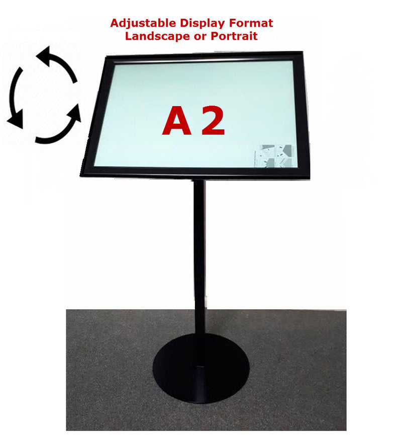 A2 Black Freestanding Snap Frame Menu / Display Stand
