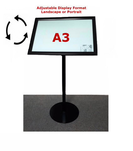 A3 Black Freestanding Snap Frame Menu / Display Stand