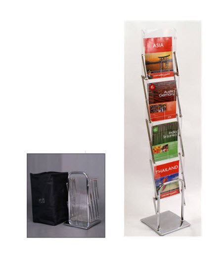 Concertina Single Sided 4 Pocket Brochure Stand