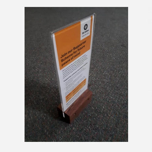 DLE Menu / Table Talker on Wooden Base