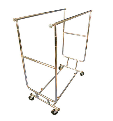 Double Collapsible Chrome Garment Rack