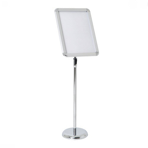 Floorstanding Radius Silver A3 Adjustable Snap Frame Display Stand