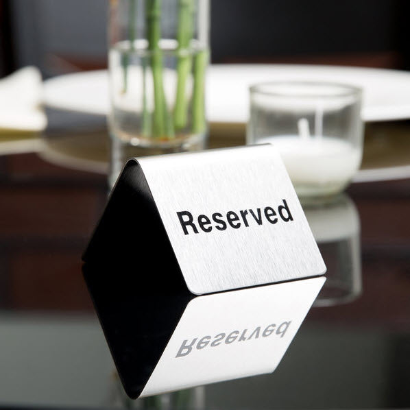 "Stainless Steel Table Tent "" Reserved "" Double Sided Sign"