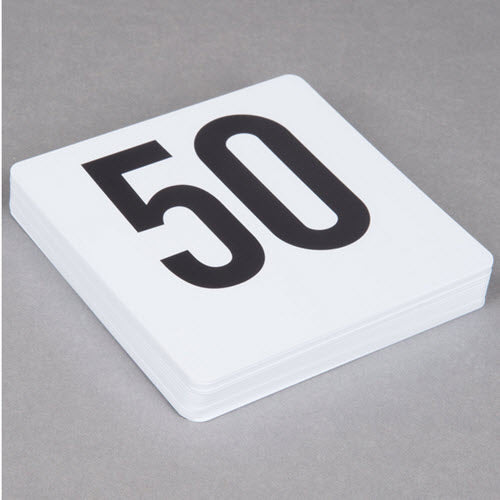 Table Number Set 1-50 White
