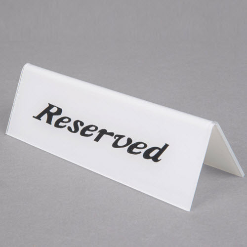 "Table Tent "" Reserved "" Double Sided Sign"