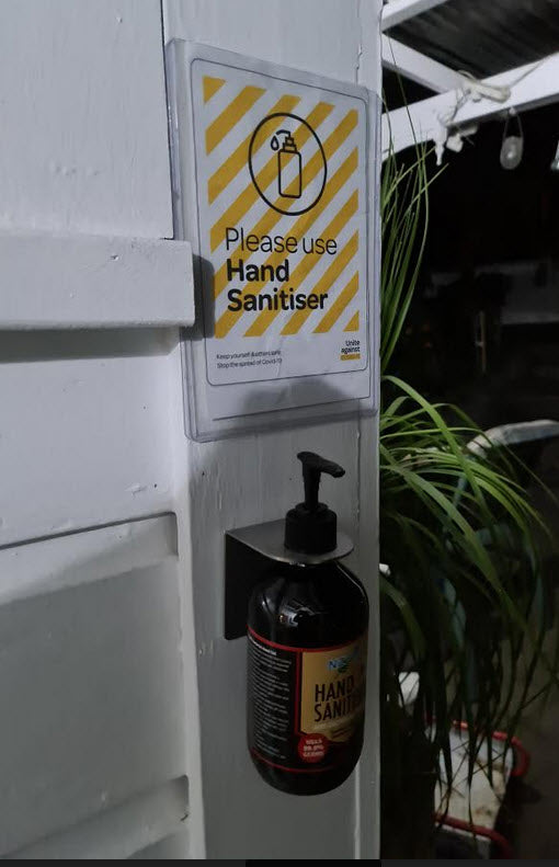 Wall Mounted Sanitizer Bottle Holder & A5 Useage Sign