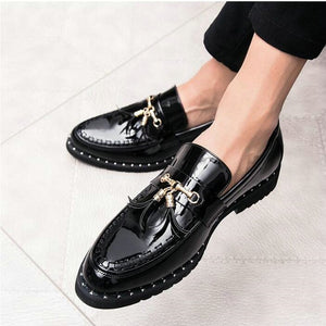New oxford Black white italian tassel business Wedding men leather formal dress flats designer Moccasins Loafers shoes LH-61