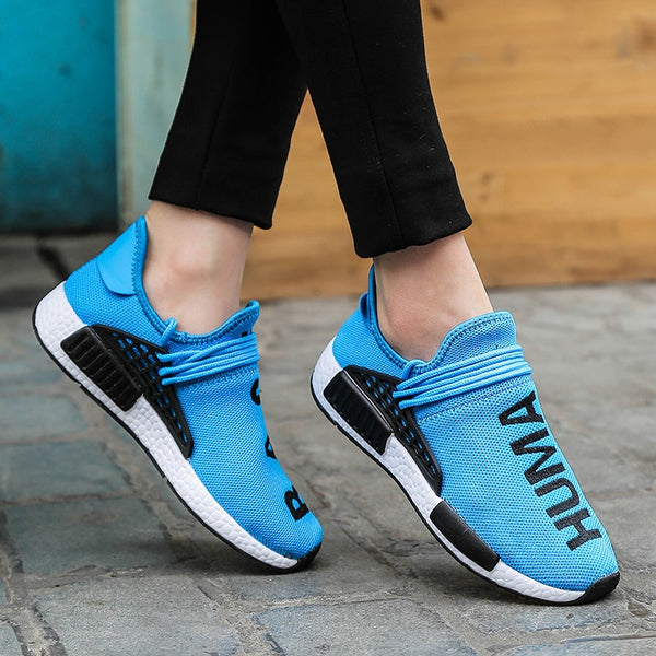Plus Size 35-47 Casual Shoes Men Weaving Fly Mesh Breathable Light Soft Trainers Couples Shoes Female Flats Sneakers Human Race