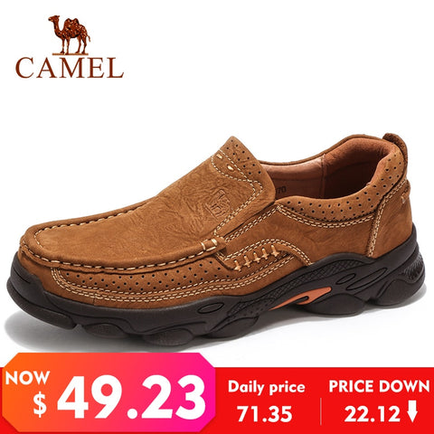 CAMEL Outdoor Men Shoes Autumn Wearable Non-slip Matte Genuine Leather Daily Casual Man Shoes Rubber Outsole Footwear