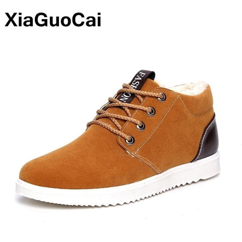 2019 Winter Warm Ankle Boots High Top Men Casual Shoes Cotton Plush Snow Boots New Arrival Flock Lace Up Mans Footwear Soft