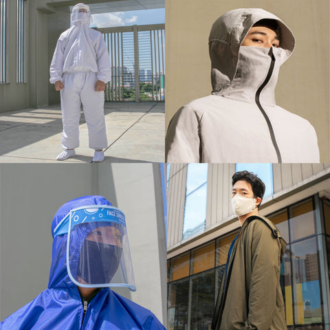 A collage of photos showing different kinds of protective gear