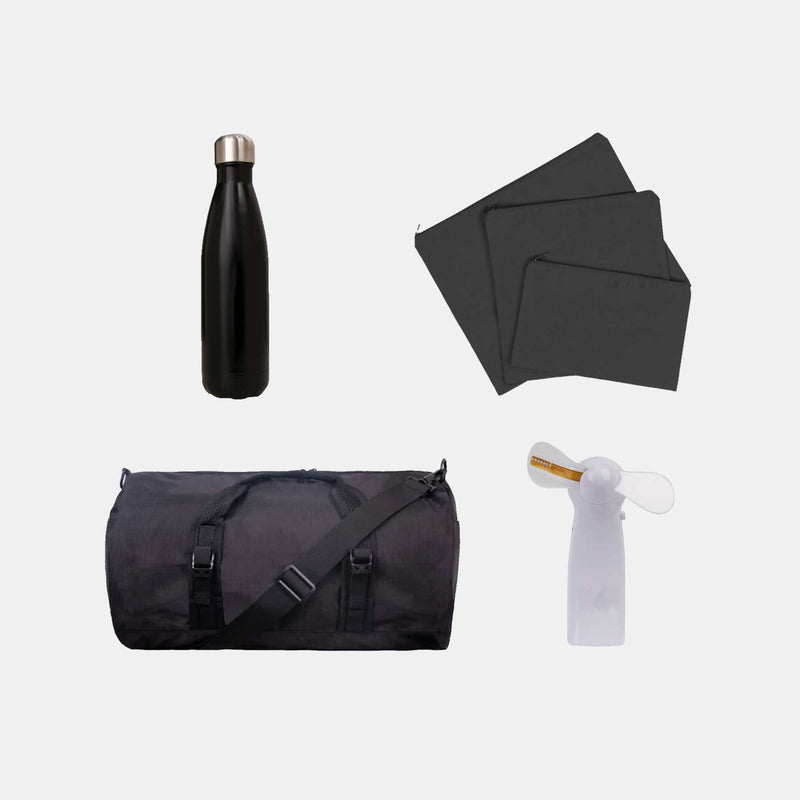 Custom Duffel Bag + Travel Organizer + Tumbler + Fan