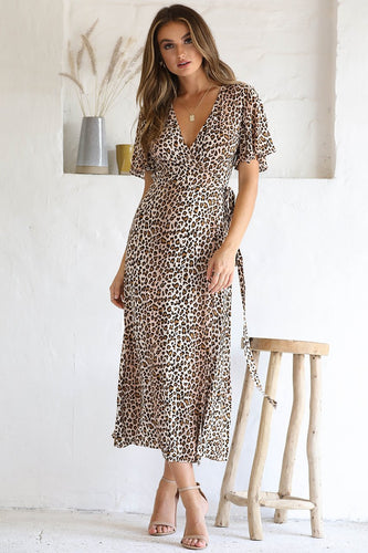 Billie Midi Dress in Leopard