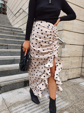 Load image into Gallery viewer, Exton Ruffle Midi Skirt in Beige Polka