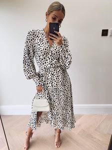 Louella Midi Wrap Dress in Cream Spot