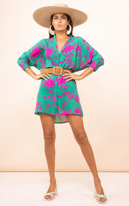 Jericho Shirt Dress in Silhouette Pink on Green