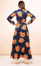 Load image into Gallery viewer, Jagger Dress in Orange on Navy Blue Tulip