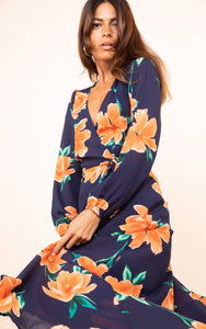 Jagger Dress in Orange on Navy Blue Tulip