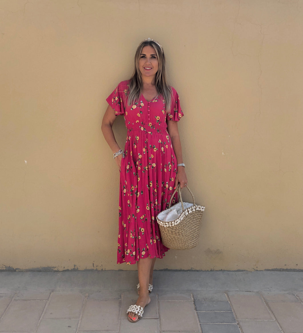 Elmheart Midi Dress in Floral