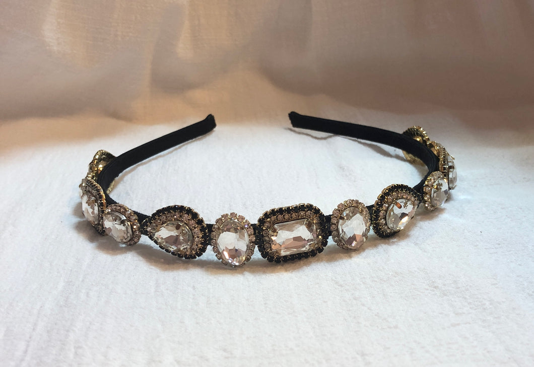 Headband in Black and Clear Gem
