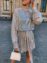 Load image into Gallery viewer, Fifi Sequin Dress in Champagne