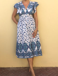 Millie Midi Dress in Blue Floral
