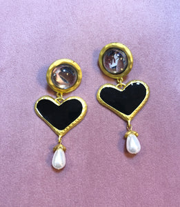 Crystal and Black Heart Earrings