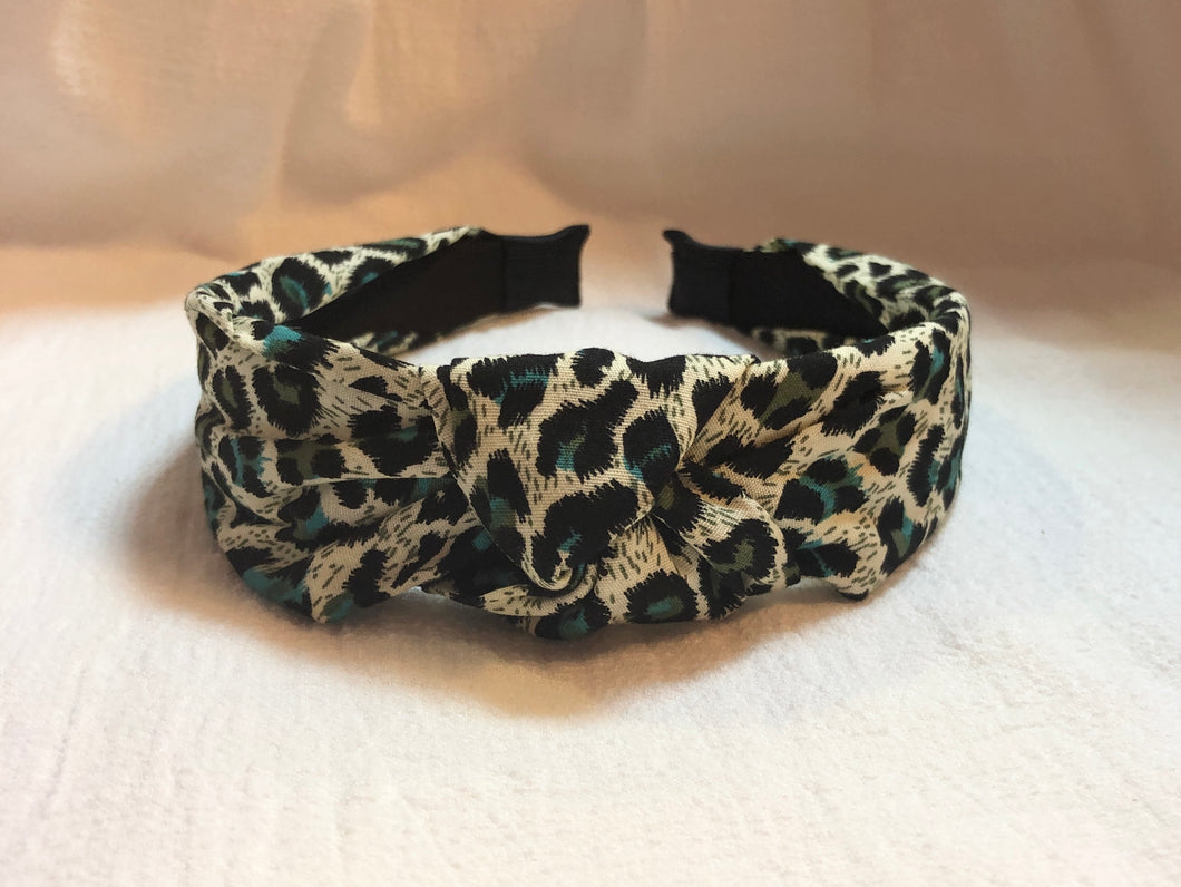 Headband in Green Leopard
