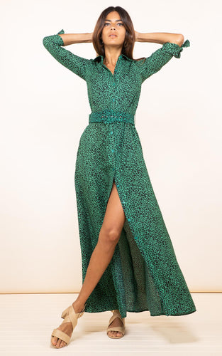 Dove Dress in Green Leopard