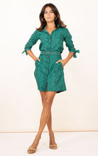 Load image into Gallery viewer, Jonah Mini Shirt Dress in Small Green Leopard