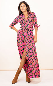 Dove Dress in Pink on Black Hibiscus