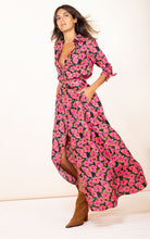 Load image into Gallery viewer, Dove Dress in Pink on Black Hibiscus