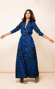 Dove Dress in Blue Leopard