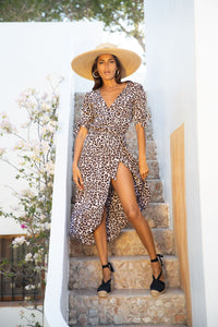 Olivera Midi Dress in Bare Leopard