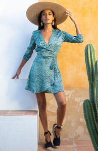 Marley Mini Dress in Mint Ditzy Leopard
