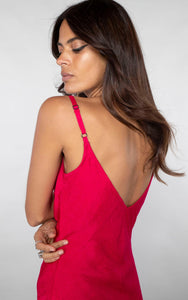 Fiorella Dress in Red/Cerise Pink