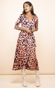 Yondal Dress in Plorange Leopard