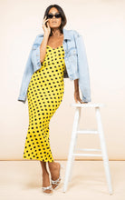 Load image into Gallery viewer, Sienna Midaxi Dress in Yellow Dotty