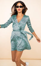 Load image into Gallery viewer, Marley Mini Dress in Mint Ditzy Leopard