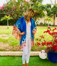 Load image into Gallery viewer, Khloe Kimono in Blue Tiger