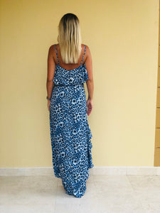 Hollie Hi-Low Dress in Blue Leopard