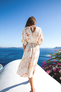 Sienna Wrap Gown in Sunset Bloom