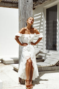 Mallorca Luxe Maxi Dress in Seashell White