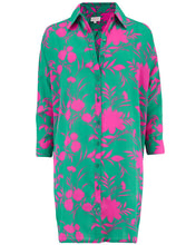 Load image into Gallery viewer, Jericho Shirt Dress in Silhouette Pink on Green