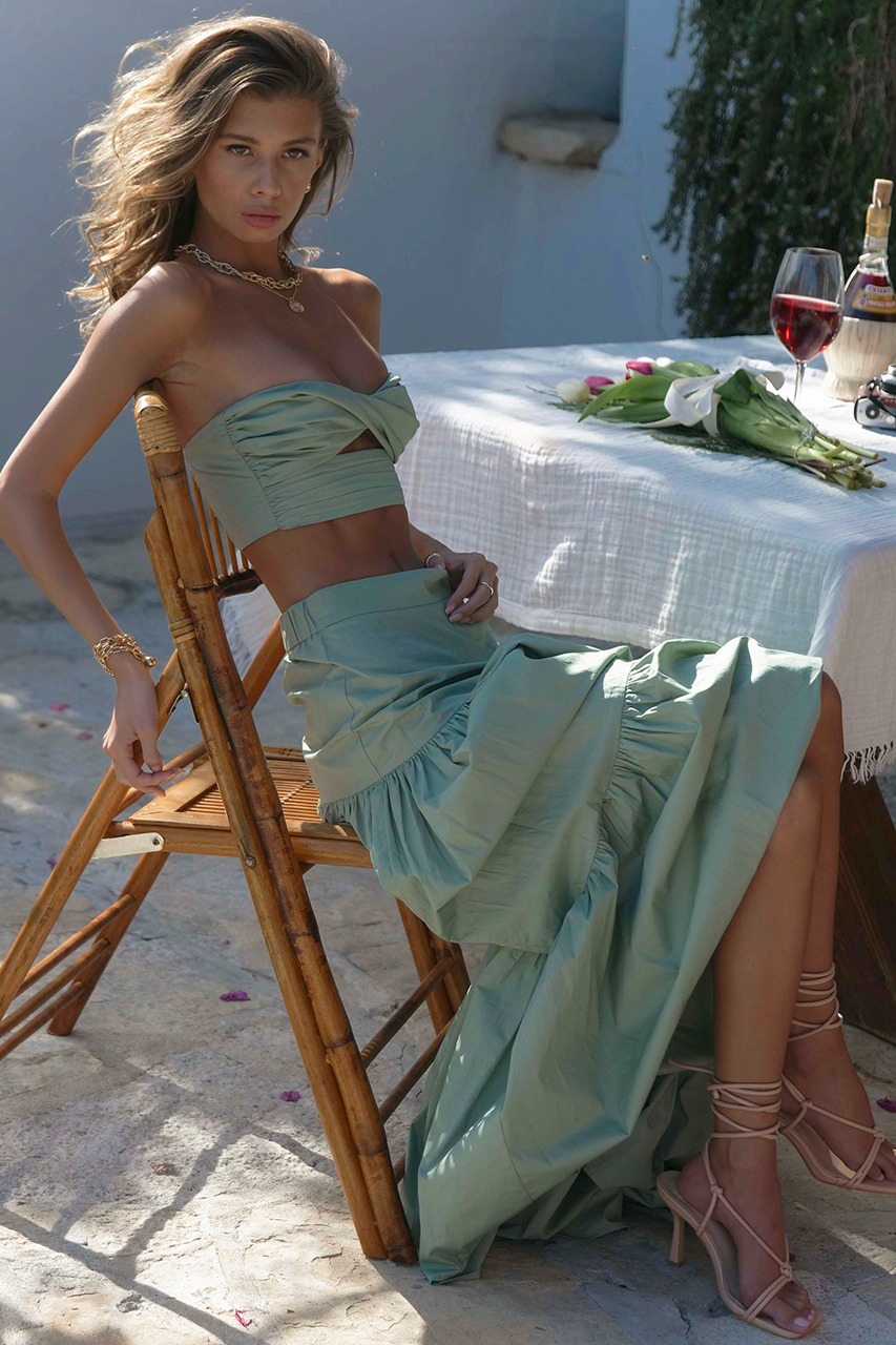 Ayla Maxi Skirt in Sage