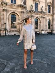Fifi Sequin Dress in Champagne